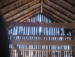interior of beam barn
